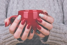 manicure with coffee mug